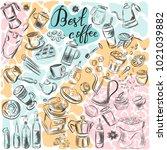 cartoon hand drawn doodles on... | Shutterstock .eps vector #1021039882