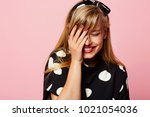 laughing lady in sports against ... | Shutterstock . vector #1021054036