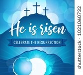hi is risen holy week easter... | Shutterstock .eps vector #1021060732