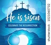 hi is risen holy week easter... | Shutterstock .eps vector #1021060732