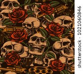 skulls with guns and roses... | Shutterstock . vector #1021060846