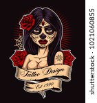 chicano tattoo girl. tattoo... | Shutterstock . vector #1021060855