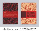 set of covers with glitch... | Shutterstock .eps vector #1021062232