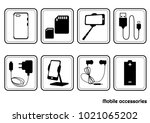 set black and white icons of... | Shutterstock .eps vector #1021065202