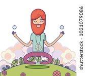 hippie cute cartoon | Shutterstock .eps vector #1021079086