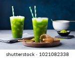 matcha  green tea ice tea ... | Shutterstock . vector #1021082338