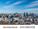 montreal skyline in winter from ... | Shutterstock . vector #1021082428