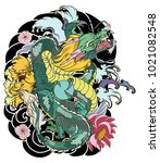 colorful dragon and plum flower ... | Shutterstock .eps vector #1021082548