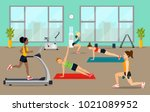 empty gym with exercise... | Shutterstock .eps vector #1021089952