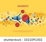 digital smart medical nano... | Shutterstock .eps vector #1021091302