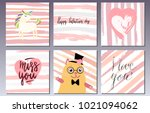 valentines day postcards set... | Shutterstock .eps vector #1021094062