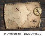 treasure map adventure concept... | Shutterstock . vector #1021094632