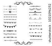 set of frames  dividers  hand... | Shutterstock .eps vector #1021096252