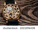 mechanism  clockwork of a watch ... | Shutterstock . vector #1021096438