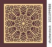 laser cutting panel. golden... | Shutterstock .eps vector #1021099888