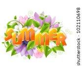 summer illustration with flower ...   Shutterstock .eps vector #102110698