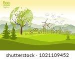 green globe on the tree. tree...   Shutterstock .eps vector #1021109452