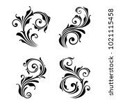 set of four vector floral... | Shutterstock .eps vector #1021115458