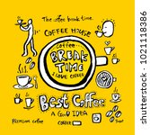 cafe poster   sketchy coffee... | Shutterstock .eps vector #1021118386