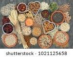 healthy high fibre dietary food ...   Shutterstock . vector #1021125658