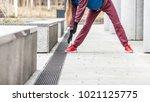 outdoor sport exercises  sporty ... | Shutterstock . vector #1021125775