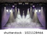 scene  stage light with colored ... | Shutterstock . vector #1021128466