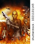 robots war science fiction... | Shutterstock . vector #1021131145