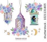 ramadan watercolor arabic... | Shutterstock .eps vector #1021131805