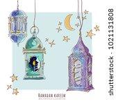 ramadan watercolor arabic... | Shutterstock .eps vector #1021131808