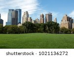 grass field in central park ... | Shutterstock . vector #1021136272