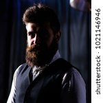 Small photo of Bearded man with confident face. Rich lifestyle, professional success concept. Advocate or politician with long beard. Entrepreneur in elegant suit looks confident, successful and respectable.