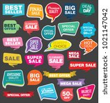 modern origami sale stickers... | Shutterstock .eps vector #1021147042