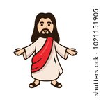 jesus christ smiling with open... | Shutterstock .eps vector #1021151905