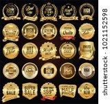 retro labels and badges golden... | Shutterstock .eps vector #1021152598