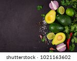 guacamole sauce ingredients  ... | Shutterstock . vector #1021163602