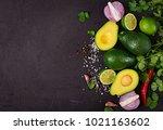 guacamole sauce ingredients  ... | Shutterstock . vector #1021163602