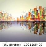 night city skyline with neon... | Shutterstock . vector #1021165402