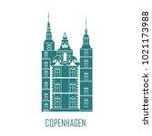 rosenborg castle. the symbol of ... | Shutterstock .eps vector #1021173988