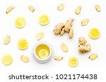 cup of ginger tea near ginger...   Shutterstock . vector #1021174438