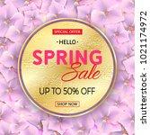 spring sale gold banner on pink ... | Shutterstock .eps vector #1021174972