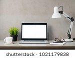 laptop computer white blank...   Shutterstock . vector #1021179838