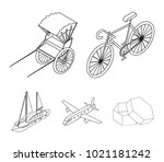 bicycle  rickshaw  plane  yacht.... | Shutterstock .eps vector #1021181242