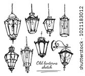drawing old lanterns on the... | Shutterstock .eps vector #1021183012