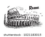 drawing colosseum with rome... | Shutterstock .eps vector #1021183015
