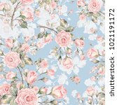 Stock photo watercolor seamless rose pattern pattern for fabric and wallpaper for design and decoration 1021191172