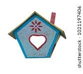 bright bird feeder isolated on...   Shutterstock . vector #1021197406