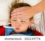 sick child boy being checked... | Shutterstock . vector #102119776