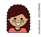 young cute girl face happy... | Shutterstock .eps vector #1021198462