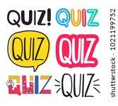 quiz. set of hand drawn doodles ... | Shutterstock .eps vector #1021199752