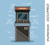 classic arcade game machine... | Shutterstock .eps vector #1021199815